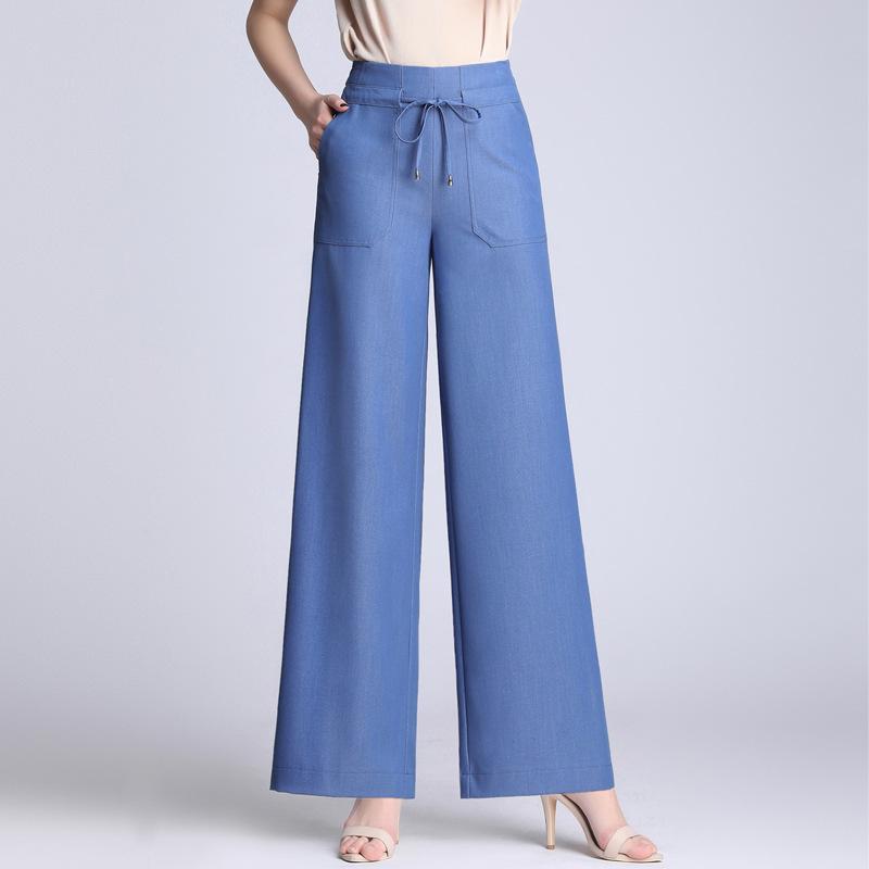 ddcce3c1fa Compre Envío Gratis 2019 Nuevos Pantalones De Pierna Ancha Para Mujer De  Primavera Y Verano Con Cordón Elástico Pantalones De Cintura Pantalones  Casuales ...