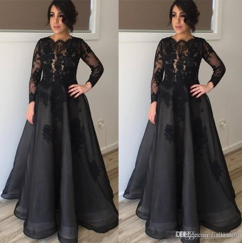 67fd504c457 Modest Black Long Sleeves Mother Of The Bride Dresses Plus Size Custom  Evening Gowns Floor Length Wedding Guest Dress Petite Mother Of Groom  Dresses Petite ...