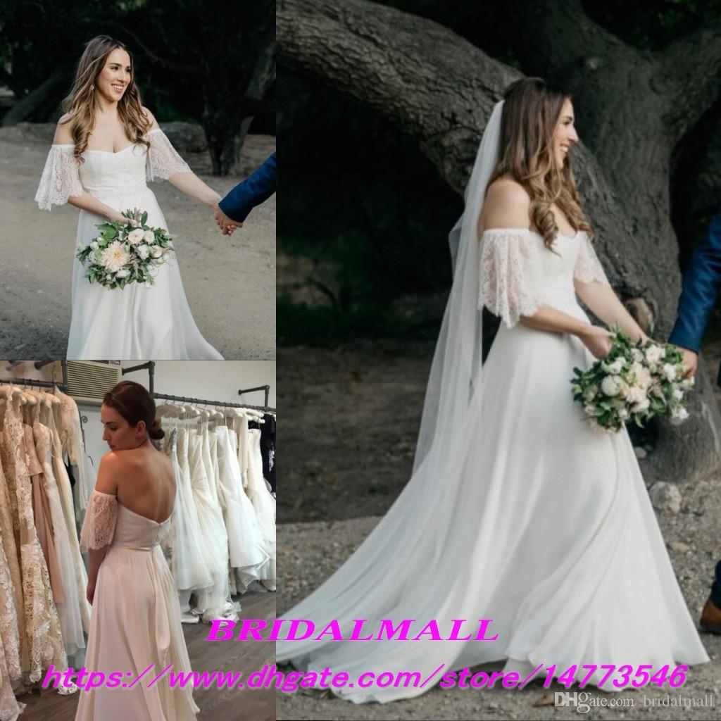 1dbed6882 Discount Simple 2019 Summer A Line Chiffon Beach Wedding Dresses Bride Off  The Shoulder Lace Boho Garden Bridal Gowns Cheap Outdoor Vestidos De Novia  Black ...