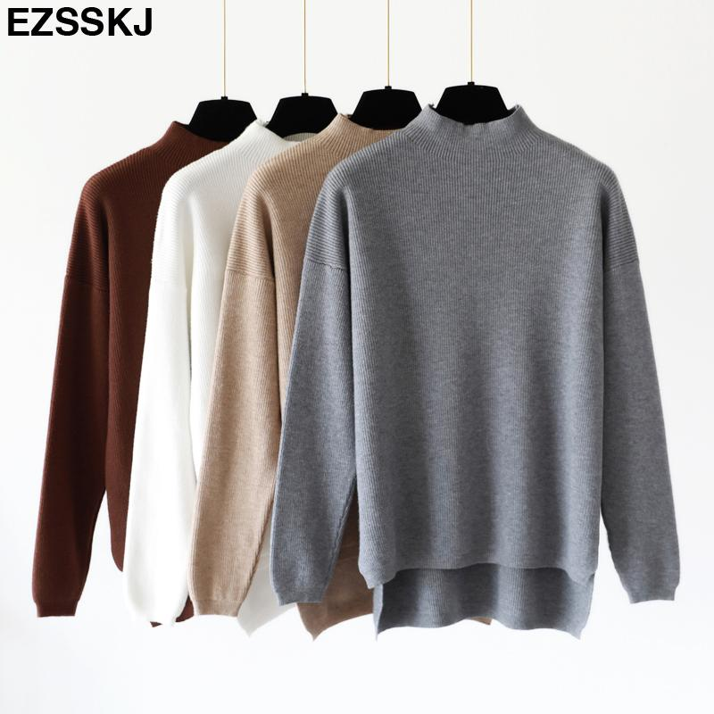 6ca91d66d8 Korean Style Loose Sweater Women Pullover Casual Half Turtleneck Long  Sleeve Oversized Knit Sweater Female Jumpers Split Solid D19011603 UK 2019  From Tai01