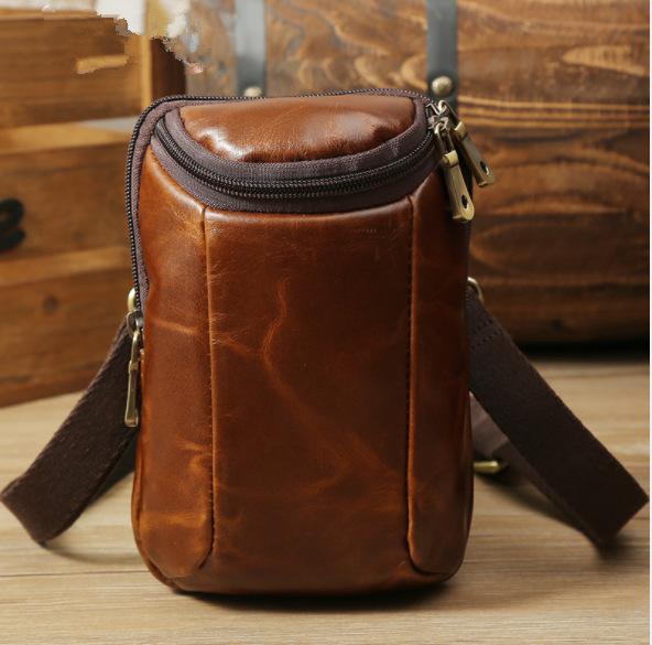 06b12e5f477 New Fashion Oil Wax Light Leather Shoulder Messenger Bag Retro Men s Mobile  Phone Bag Wear Belt Waist Packs Cross Body Purse Hobo Handbags From  Derrick87