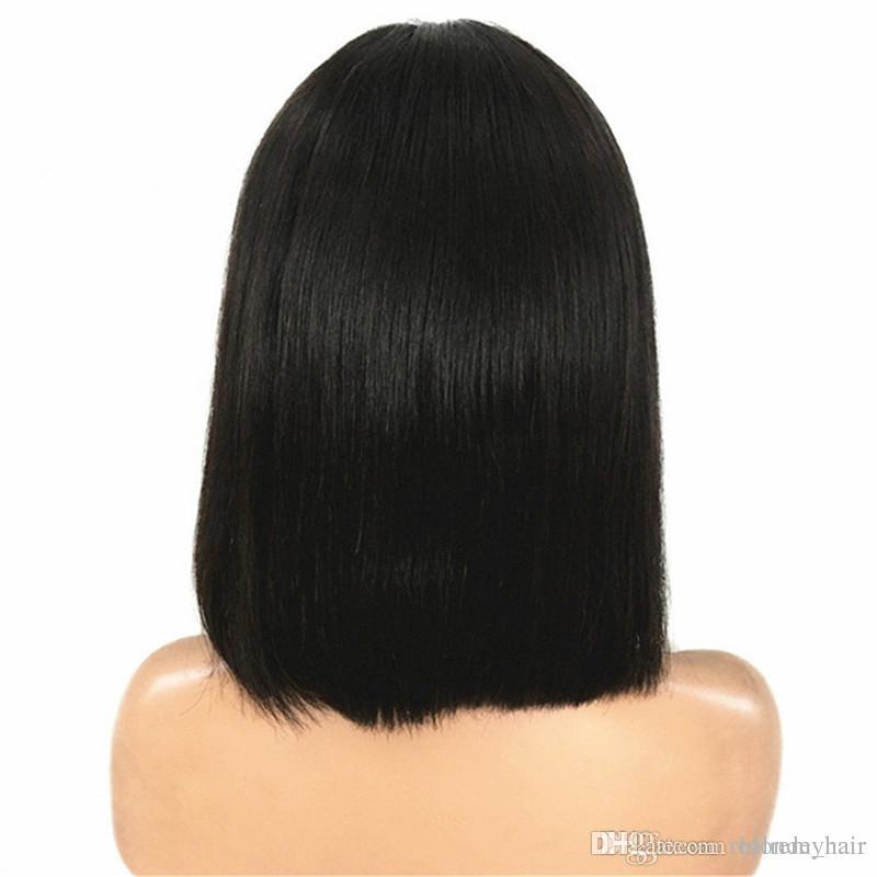 Short Human Hair Wig 180% Density 4x4 Straight Bob Lace Front Wigs Brazilian Virgin Hair Lace Closure Wigs Natural Color Glueless for women