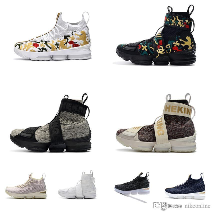 super popular 4f7a8 a2de9 Cheap new Kith X Lebron 15 high tops basketball shoes lifestyle king floral  Zoom Air LBJ 15s XV sneakers boots with original box for sale