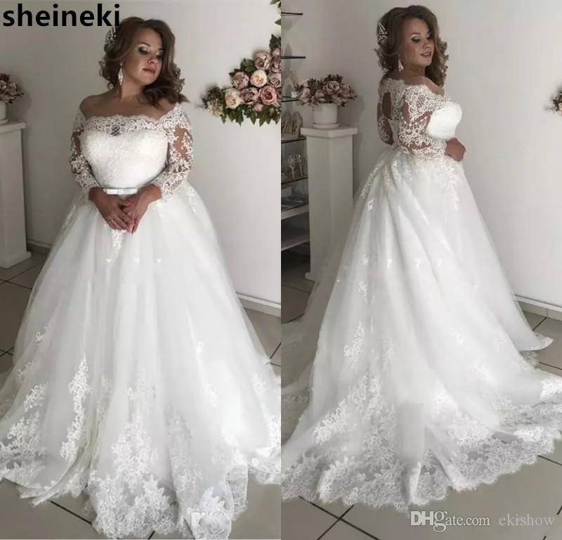 2019 Modest Sheer Neck Plus Size Abiti da sposa 3/4 Maniche lunghe Appliques Illusion Hollow Back Garden Country Abiti da sposa robe de