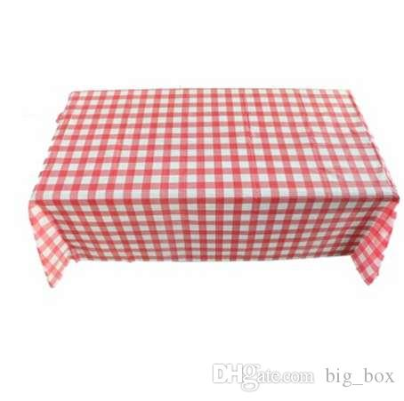 Table Cloth Red Gingham Plastic Disposable Wipe Check Tablecloth For