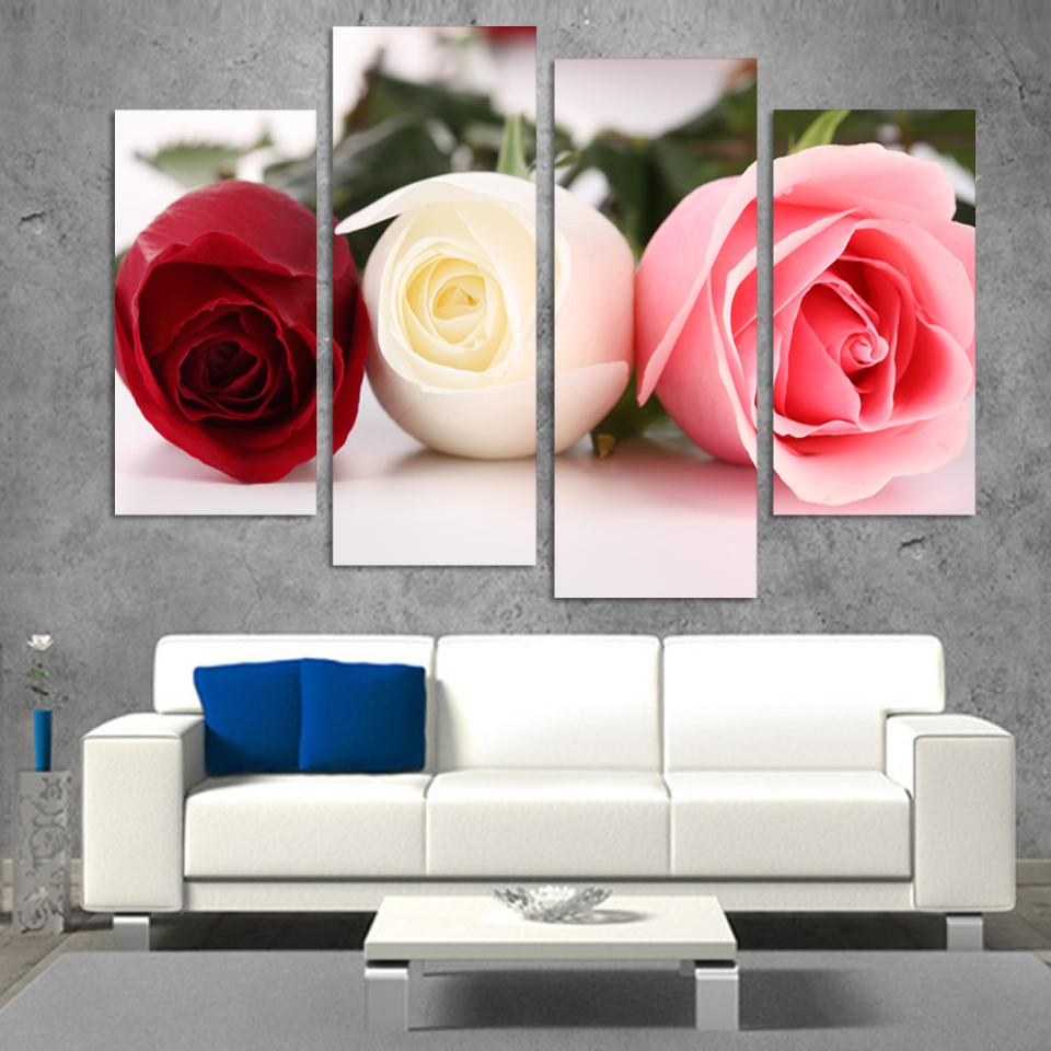 4pcs canvas modern wall painting red white pink rose flower home decoration art picture paint on canvas prints interior