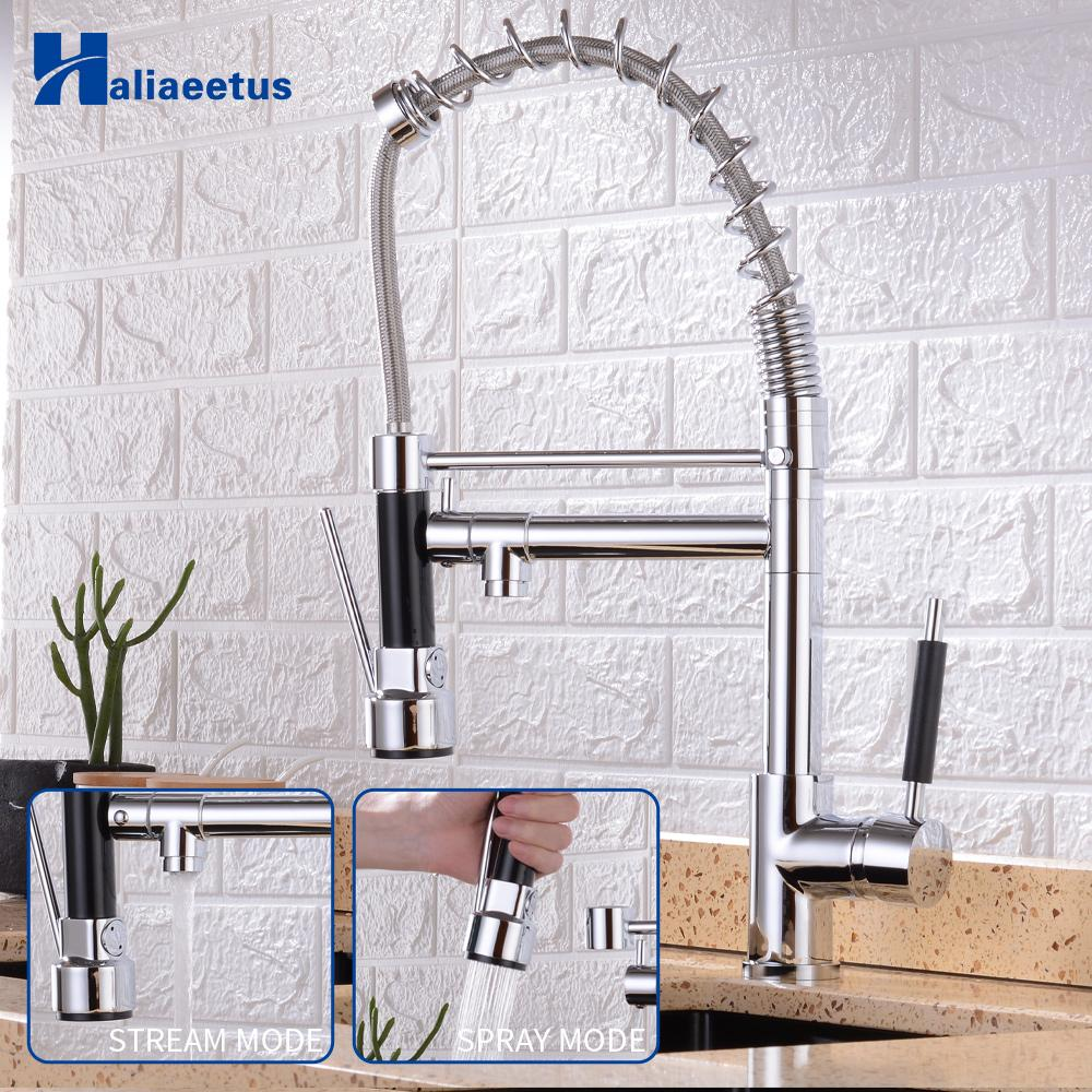 Kitchen Faucets Chrome Brass Faucets for Kitchen Sink Single Lever Pull Out Spring Spout Mixers Tap Hot Cold Water Crane