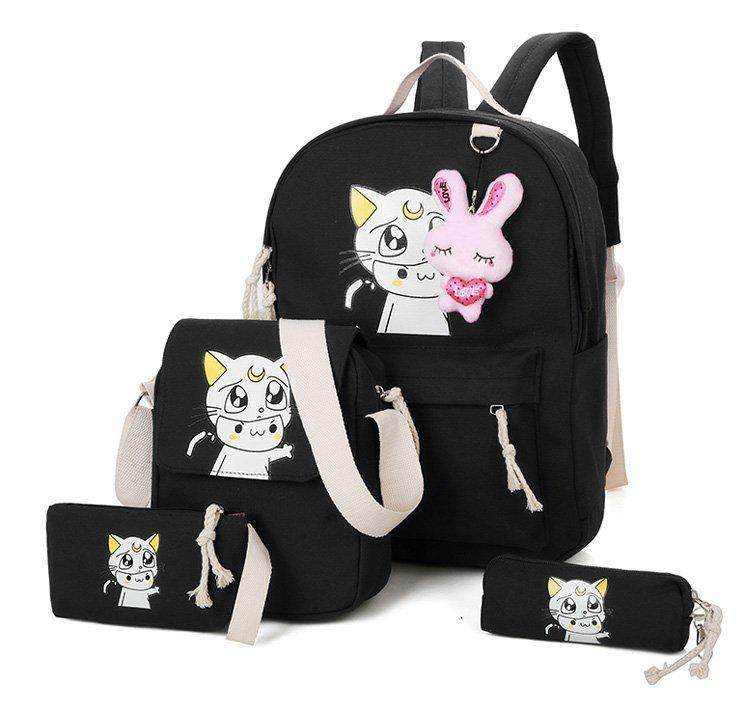 Cartoon Print Four Piece Set School Portfolio School Bag For Teenahe ... e1138db18a495