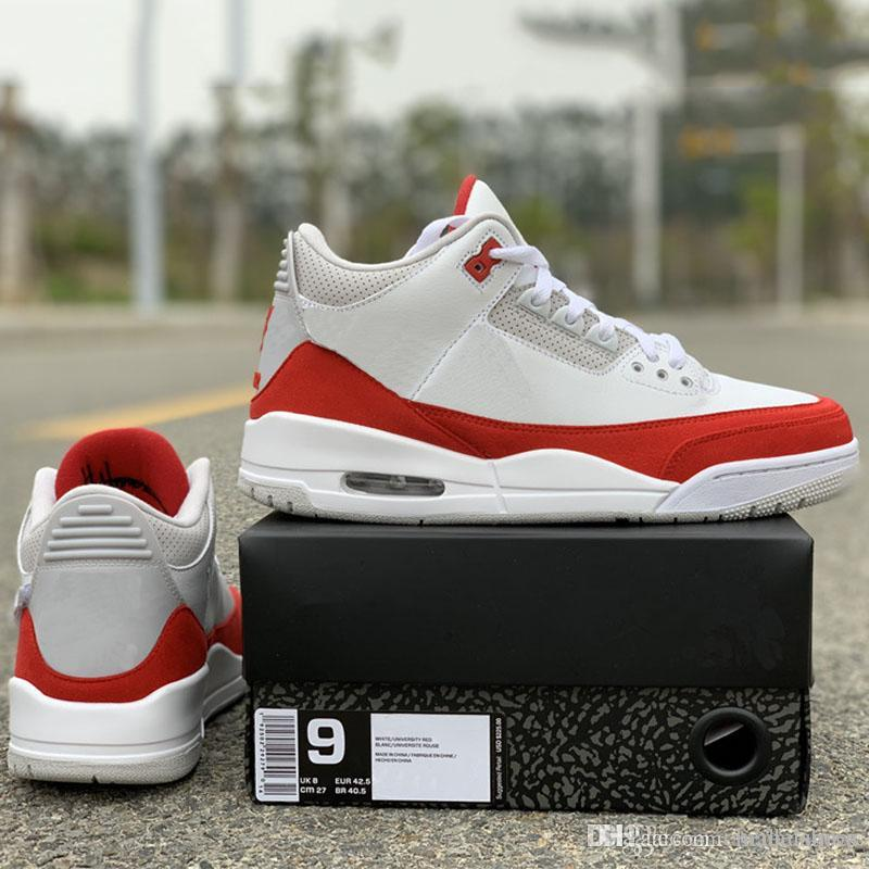 size 40 0cea1 c099d 2019 JTH Tinker Basketball Shoes 3s University Red Changable Patch Fashion  Designer Mens Real Leather Sports Trainer Sneakers