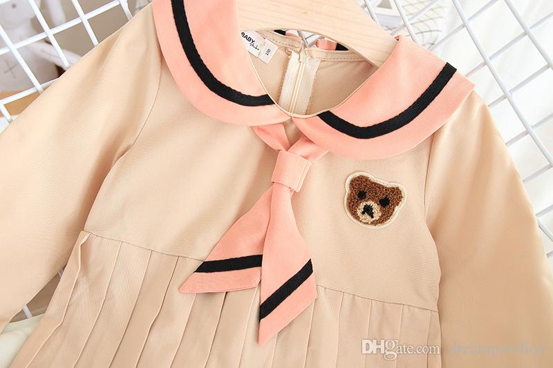 Fall 2019 New Korean Girls'Temperament Long Sleeve Cartoon College Cute Round Neck Dresses Pure Colour Series