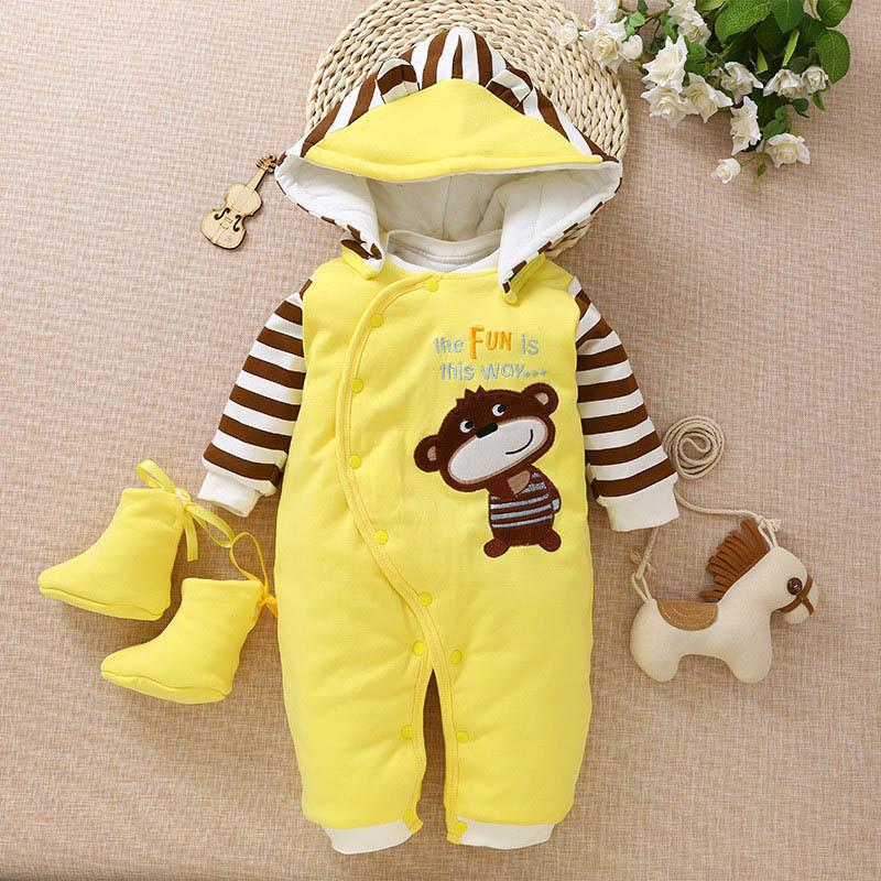 1a408c6bfa73 2019 Good Quality Newborn Baby Winter Rompers Cotton Hooded Baby Boy ...