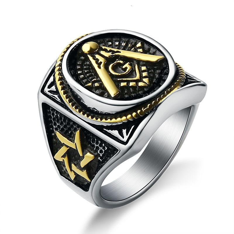Jewelry Men's Black Plating Mason Signet Ring Stainless Steel Freemason Masonic Rings For Men fashion Party ring Jewelry
