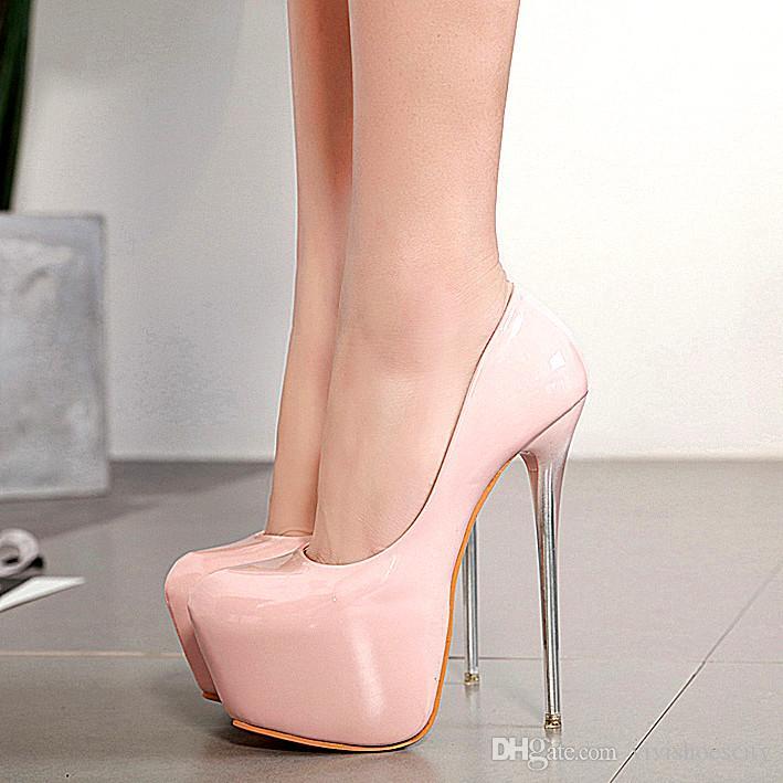 7c9285f9d2b02 Compre 16 Cm Plataforma Rosa Nude Tacones Muy Altos Patente PU Cuero Zapatos  Mujer Diseñador Zapatos Tamaño 34 A 40 A  32.88 Del Vivishoescity