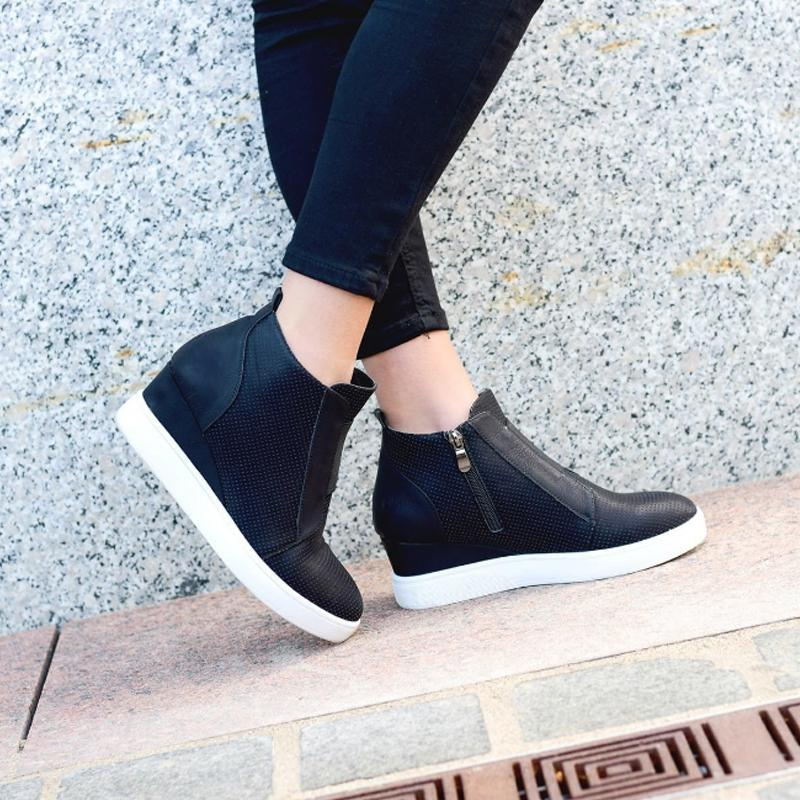 5a84cc008cd02 2019 Ankle Boots Women Heeled Hidden Wedge Booties Ladies Shoes Zip  Platform Martin Boots Fashion Trainers Elegant Classics Women Sneaker From  Hot_summer, ...