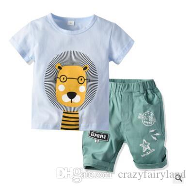66f557a43 2019 Boys Clothing Set 2019 Summer Short Sleeve Cartoon Lion Tops Kids Boy  Clothing Set T Shirt Shorts Pants Cotton Boys Clothes 2 6T From  Crazyfairyland, ...