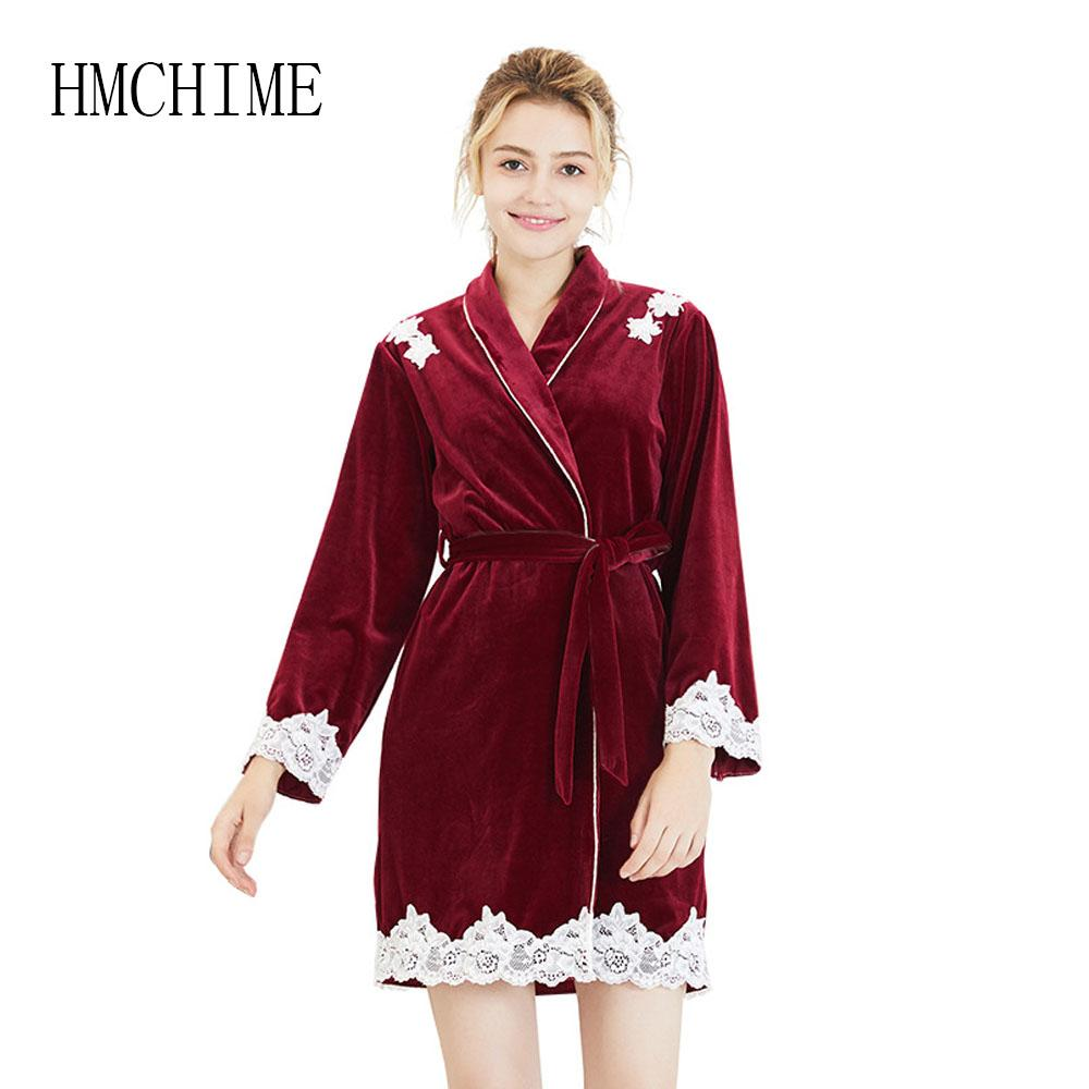90dca55e0 2019 Autumn Winter Velvet Women Sleepwear Robes Lace Long Sleeve Female  Pijama With Sashes Loose Soft Woman Pyjama Bathrobe From Edmund02, $51.06 |  DHgate.