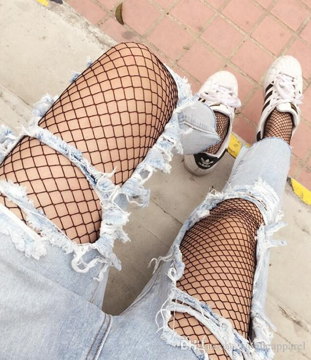 New Summer Ladies Fishnet Pattern High Waist Hollow Out Sexy Transparent Leggings Slim Women Mesh Black Clothing