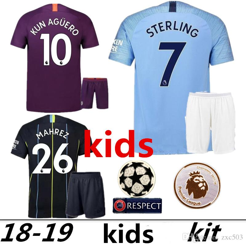 2019 18 19 Man City Soccer Jersey Home Kids Kit 2019 City Away DZEKO KUN  AGUERO KOMPANY TOURE YAYA DE BRUYNE Child Football Jersys From Zxc503 a9c226719
