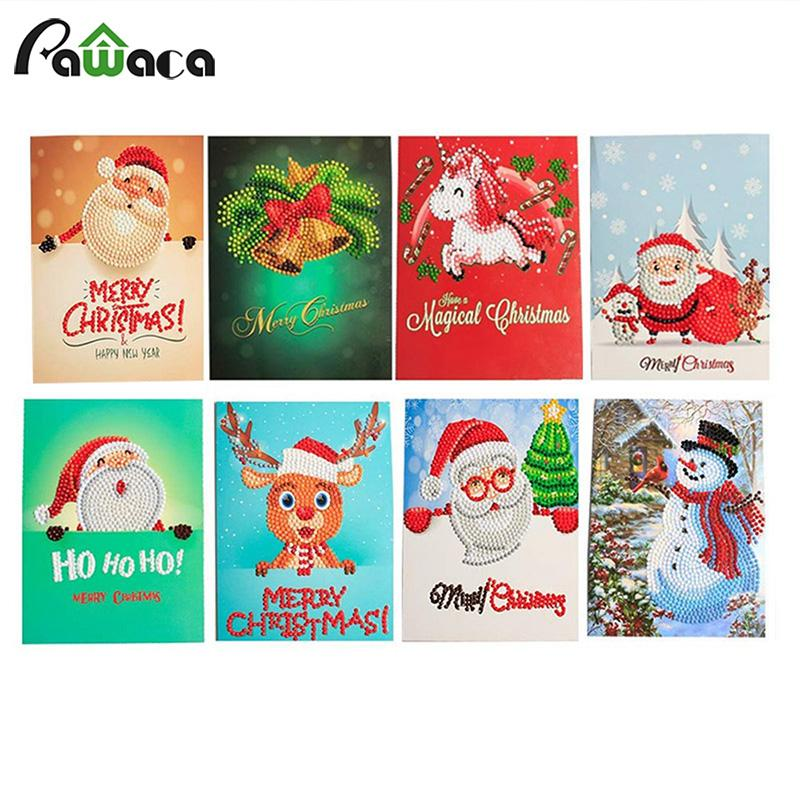 8pcs Set Christmas Greeting Cards 5d Diy Diamond Painting Kit Christmas Party Birthday Invitation Card For Events