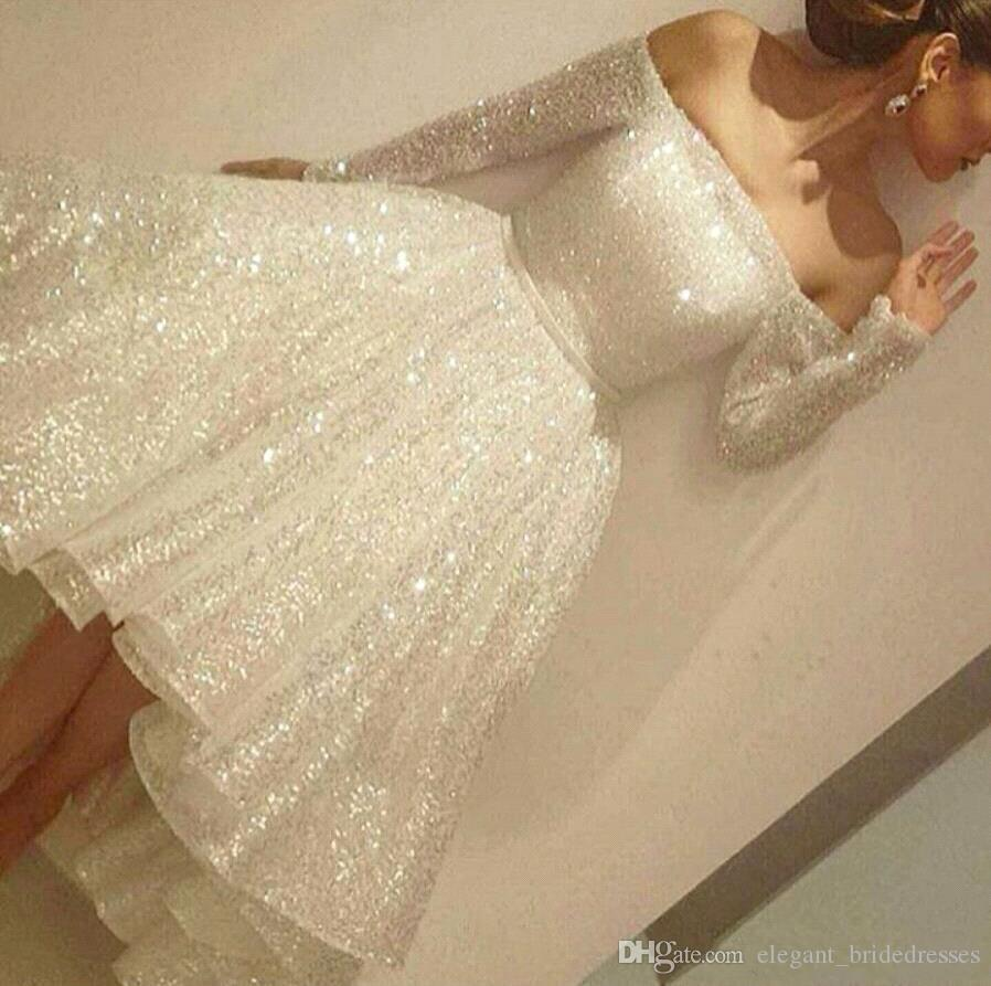 New Sparkly Sequined Short Cocktail Dresses Off the Shoulder Long Sleeves Open Back Tea Length Short evening Dress Arabic Formal Party Wear