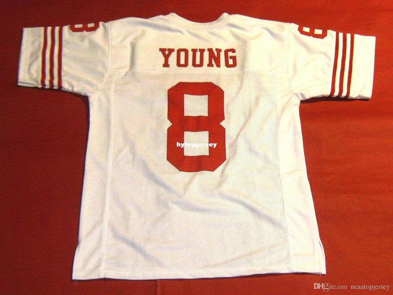 Cheap retro #8 STEVE YOUNG CUSTOM MITCHELL & NESS Jersey READ NOTE white Mens Stitching High-end Size S-5XL Football Jerseys College NCAA