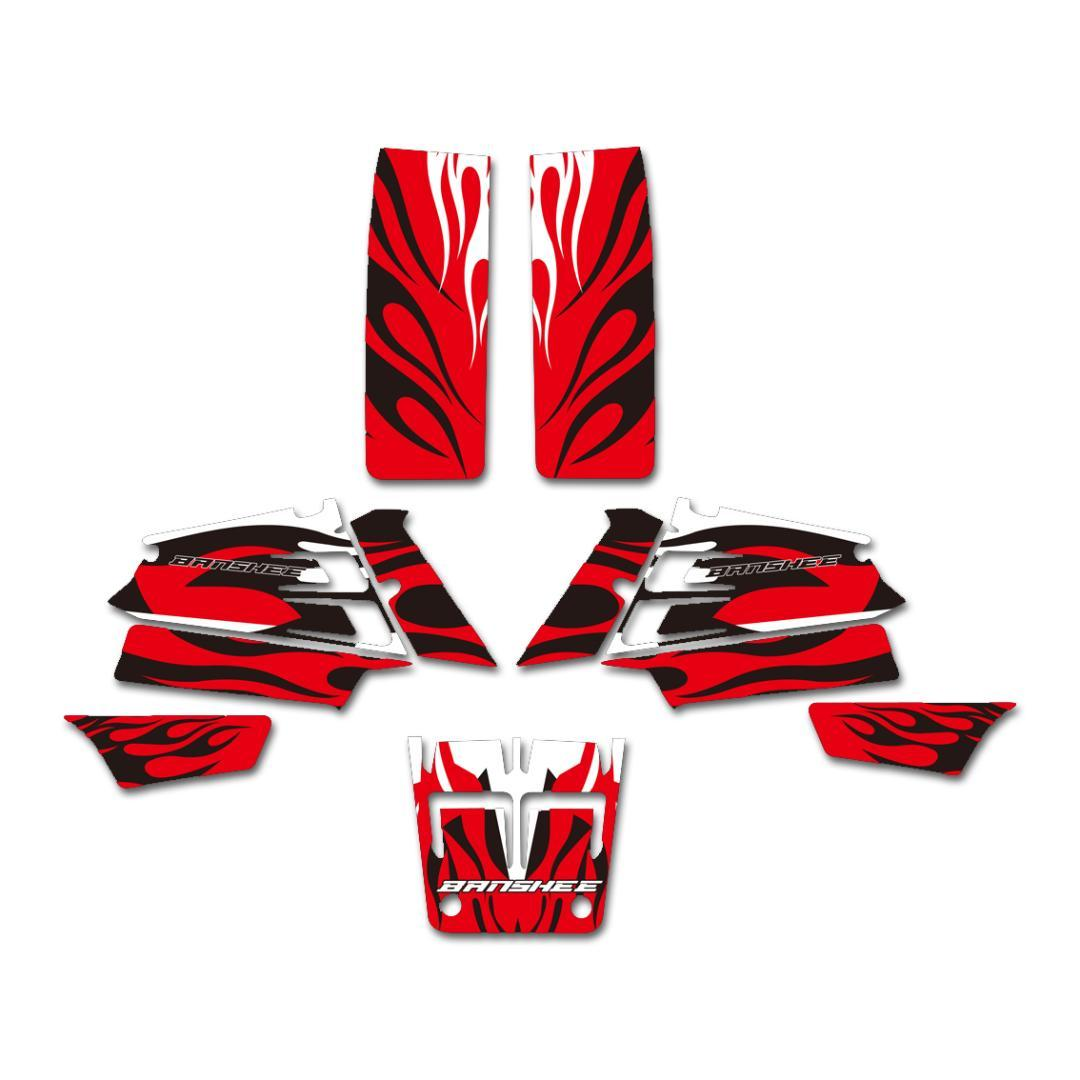 New style red fire decals stickers graphics kits for yamaha yfz350 banshee 350 atv 1987 2005 atv parts oem atv parts online from wondenone 66 57 dhgate