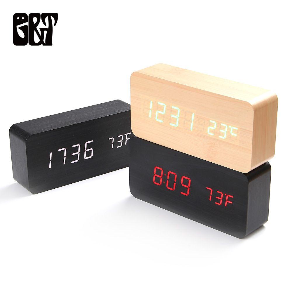 2019 Wooden LED Alarm Clocks Morden Temperature Electronic Clock ...