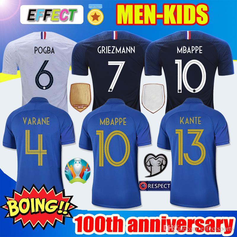 c2215c7e2 France 100th Soccer Jersey World Cup 2018 2019 GRIEZMANN MBAPPE Centenary  Soccer Jersey Maillot De Foot 100 Aniversario POGBA KANTE MATUIDI Kit De  Mujeres ...