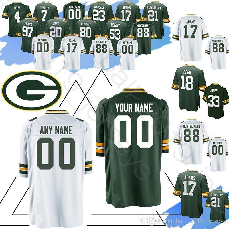 uk availability 04cc1 fe746 Green Bays Custom Packer 12 Aaron Rodgers jerseys 17 Davante Adams 4 Brett  Favre 15 Starr 99 Looney 76 Daniels 33 Jones 0 Jackson jersey