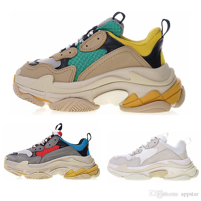 brand new 3550e abd9b balenciaga shoes Moda Paris 17FW Triple-S scarpe Sneaker Triple S Casual  Scarpe da papà per uomo Donna Beige Nero Sport Tennis Scarpe taglia 36-45