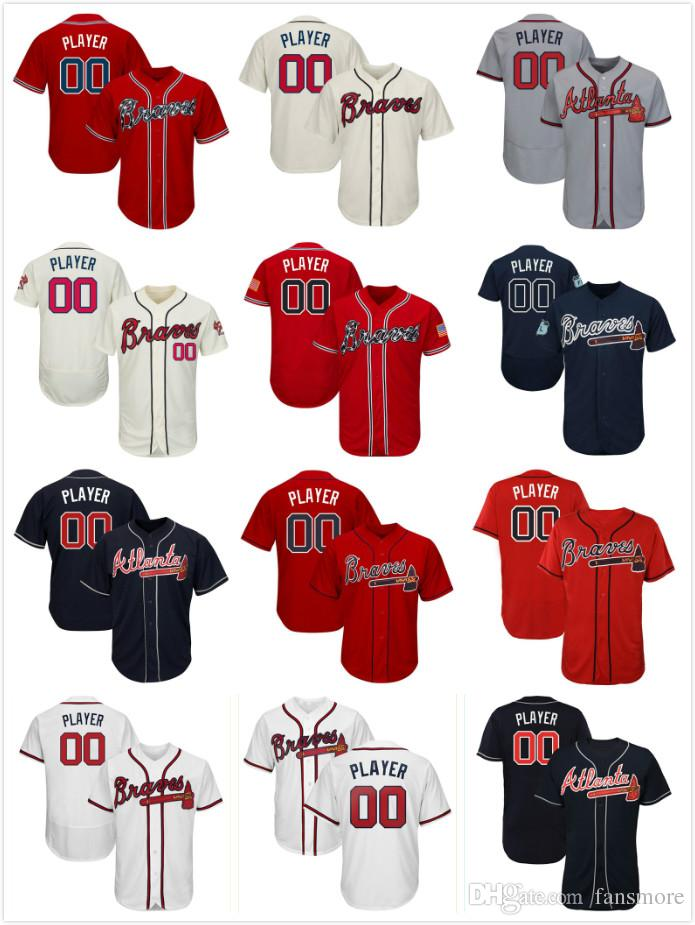 uk availability 35368 a980b Atlanta Men s 2019 Braves Jersey baseball Jerseys Ronald Acuna Jr. Jr Ozzie  Albies Freddie Freeman Dansby Swanson Chipper Jones