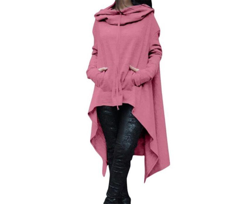 816e34a7c36a8 S-5XL Women Plus Size Irregular Loose Hoodie Cloak Sweatshirt Sweater Dress  Long Jumper Hooded Tops Casual Pocket Hoodies For Ladies Fashion