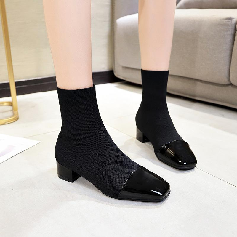 066244e68d 2018 autunno e inverno nuove calze elastiche scarpe spesse con stivali da  donna testa quadrata casual con stivali multicolor