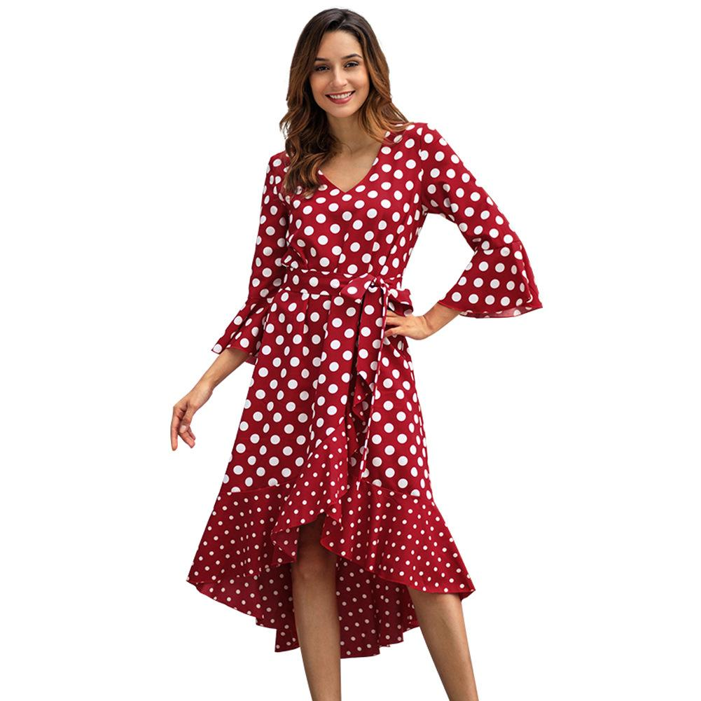 f4b75aaaddf3 Women Designer Maxi Dresses Clothes Dresses Sexy Short Dress Women  Jumpsuits Rompers Spring New Wave Point Long Sleeve Large Size Dress Red  Prom Dresses ...