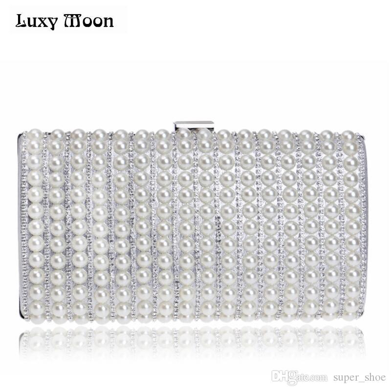 04c8eb7f97a Luxury Pearls Beaded Purse Evening Clutch Bag Wedding Clutch Diamond Evening  Bags Bride Wallet Chain Handbags Shoulder Bag #237535 White Clutch  Expensive ...