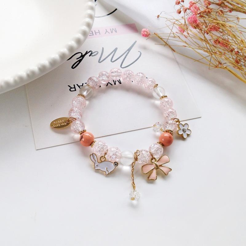 Japan Beaded Animal Rabbit Bowknot Bracelets with Sakura Flower Cute Fake Pink Crystal Charms Bracelet For Kids Student Girl