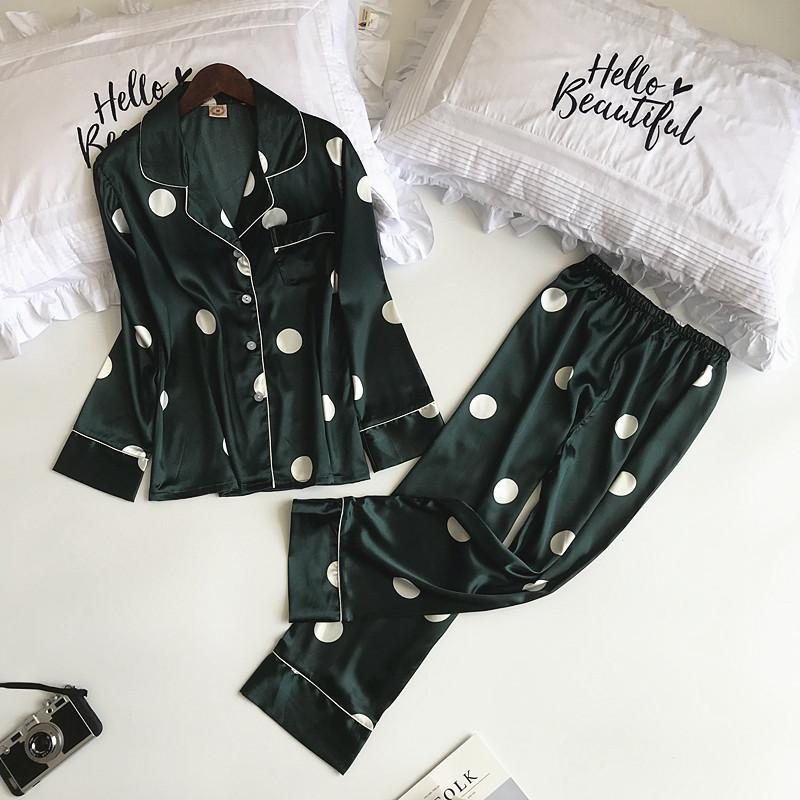 Green Print Women Pajamas Set Spring NEW Long Sleeve Shirt+Pants Home Wear Casual 2PCS Sleepwear Rayon Satin Nightwear M-XL