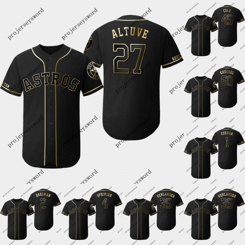 big sale 0b8af a04e3 Houston 27 Jose Altuve 2019 Golden Edition Jersey Carlos Correa Alex  Bregman George Springer Justin Verlander Dallas Keuchel Astros Jerseys