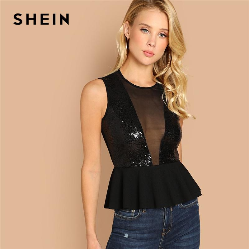 66f0cae48ad Shein Black Contrast Sequin Peplum Top Slim Fit Sexy Contrast Mesh V Neck  Plain Tops Women Autumn Night Out Casual Tank Vests Q190426