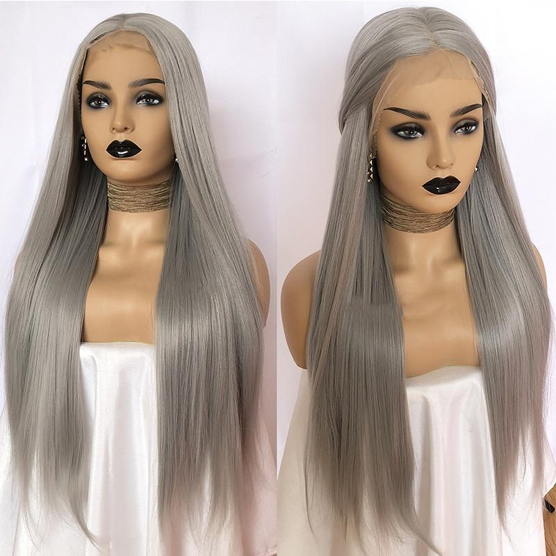 Natural Middle Part Hand Tied Grey Long Straight Wigs With Baby Hair  Glueless Heat Resistant Fiber Synthetic Lace Front Wigs For Black Women  Best Synthetic ... 4c1abfe771