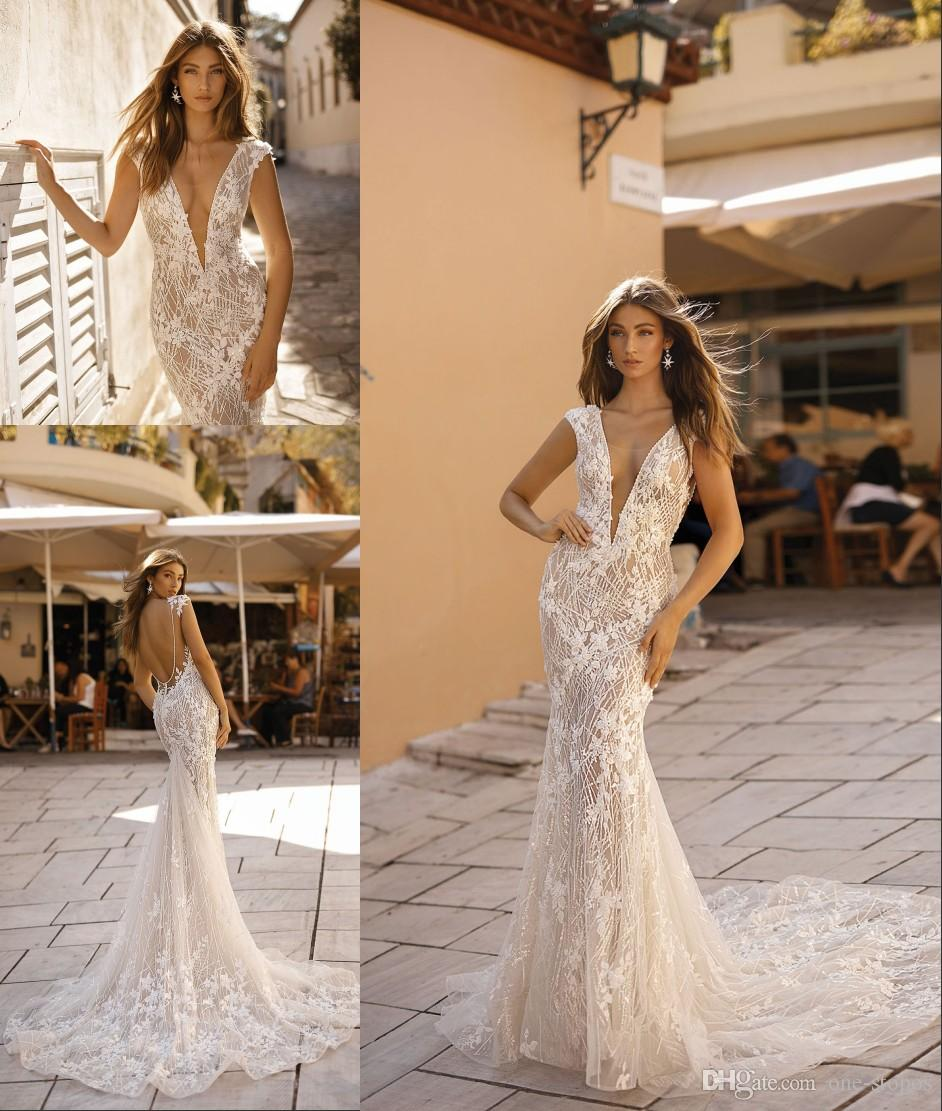 5d5d3b25d29 2019 New Summer Mermaid Wedding Dresses Sexy Backless Beach Bridal Gowns  Attached Train Sheer Dresses For Bohemian Wedding Gowns Custom Made Wedding  Dresses ...