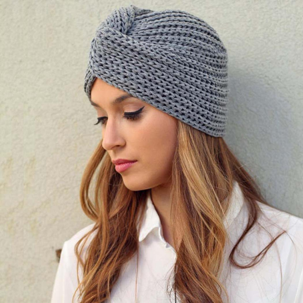 cc5f693704af7 Winter Women s Warm Knitted Turban New Cross Twist Arab Hair Wrap Solid  Casual Skullies   Beanies Hat Cap Knit Turban Cross