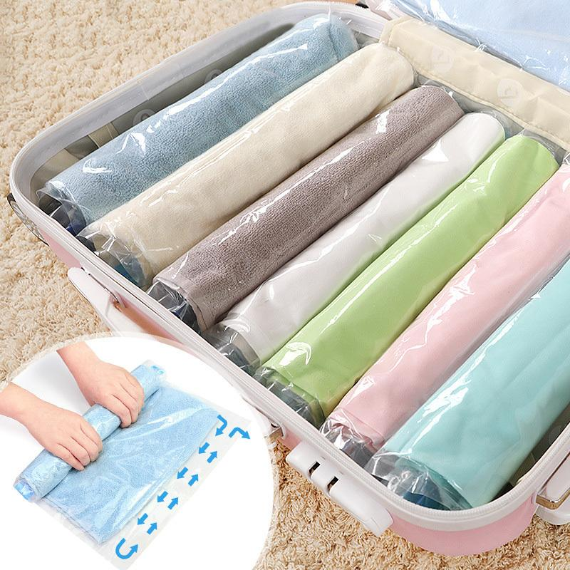 2019 Clothes Compression Storage Bags Hand Rolling Clothing Plastic