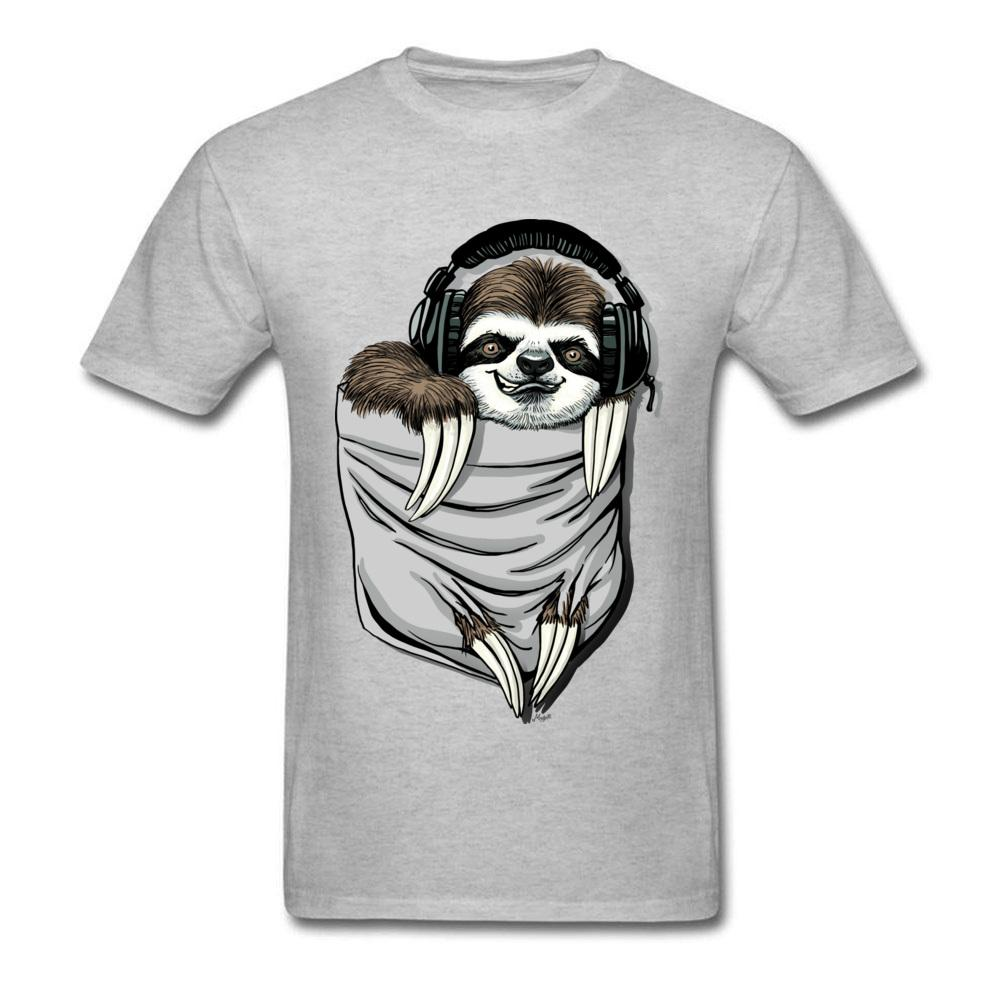 f1e9c0c3 DJ Music Tee Headset Tops Sloth T Shirt Men Funny T Shirt Summer Grey Tshirt  Kawaii Design Pocket Monster Clothes Cotton One Day Only T Shirts Limited T  ...
