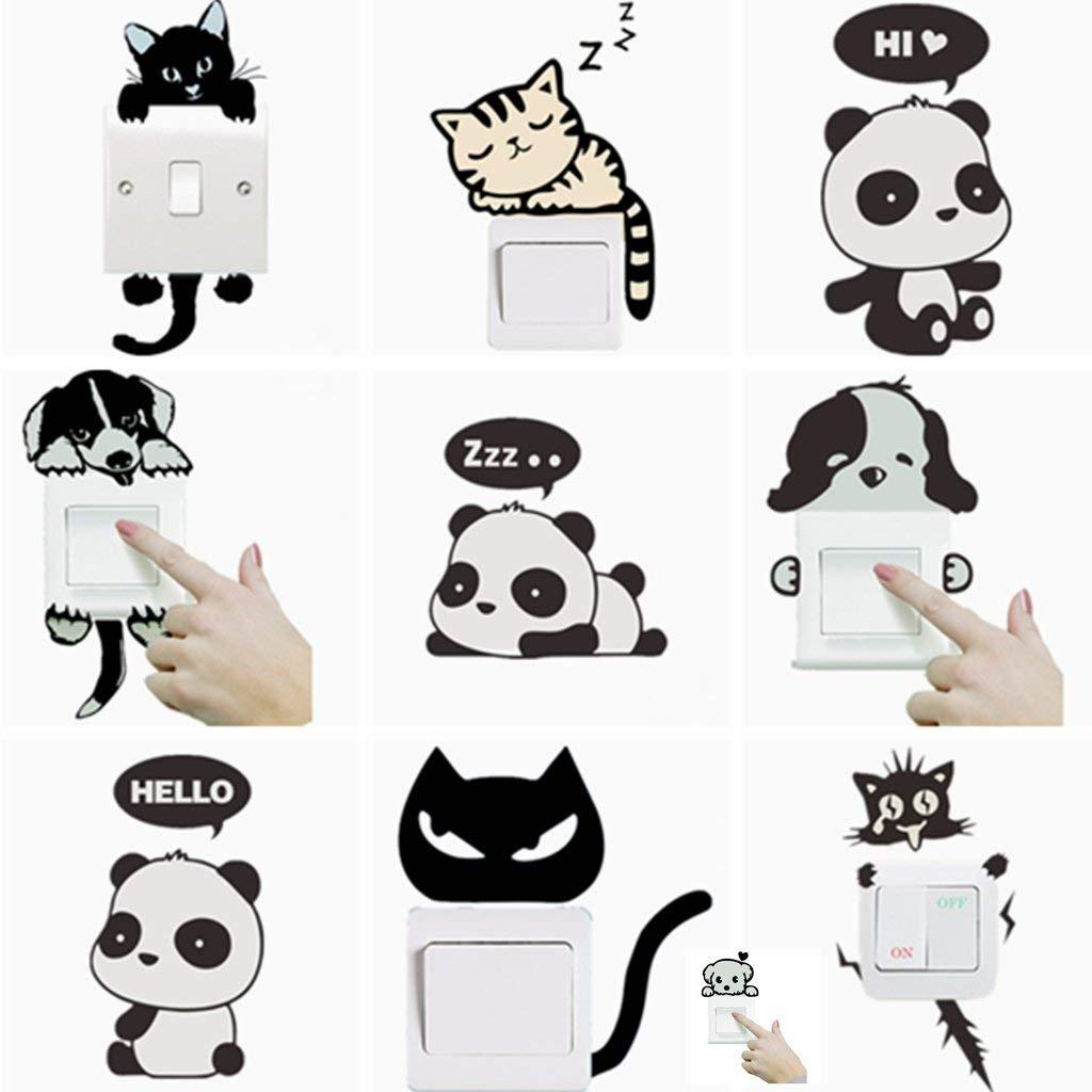 Animal Switch Stickers Cute Cat Light Switch Decor Decals Viny Wall