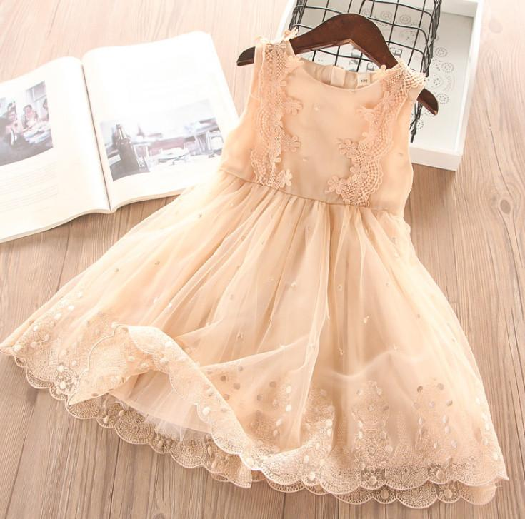 91843e1fa2 Girls lace Sundress summer gauze embroidery vest dress kids Bows belt lace  tulle princess tutu dress children birthday party dress