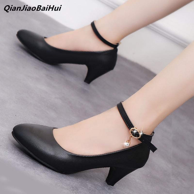 Janes Kitten Strap Dress Round Toe Mary Heels Low High 35 Qianjiaobaihui Pumps Shoes Ladies Womens Black 41 Heel Buckle UVqGzMLSp