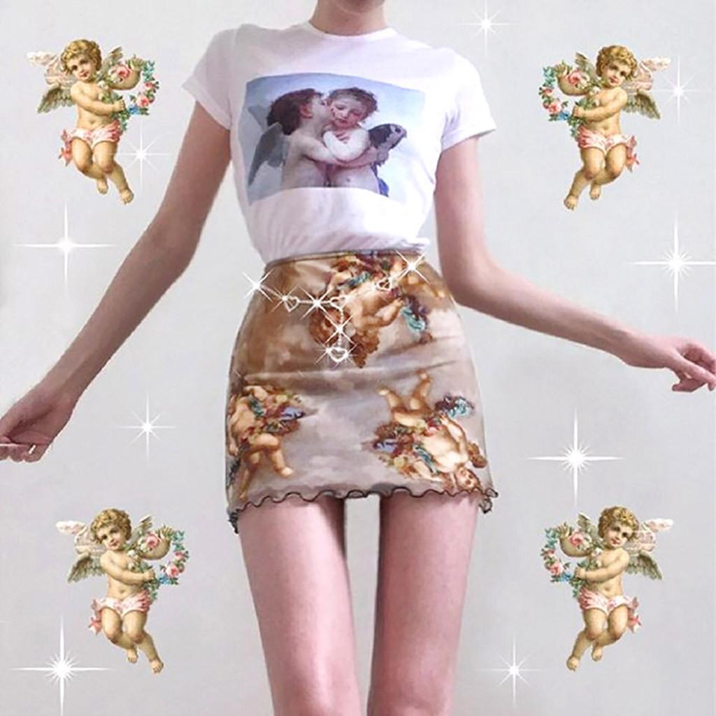 5772eb773 Moda de mujer Falda Imprimir Mini Falda Lápiz Hip Slim Sexy Corto para  mujer harajuku Mini Faldas faldas mujer moda 2019 NUEVO