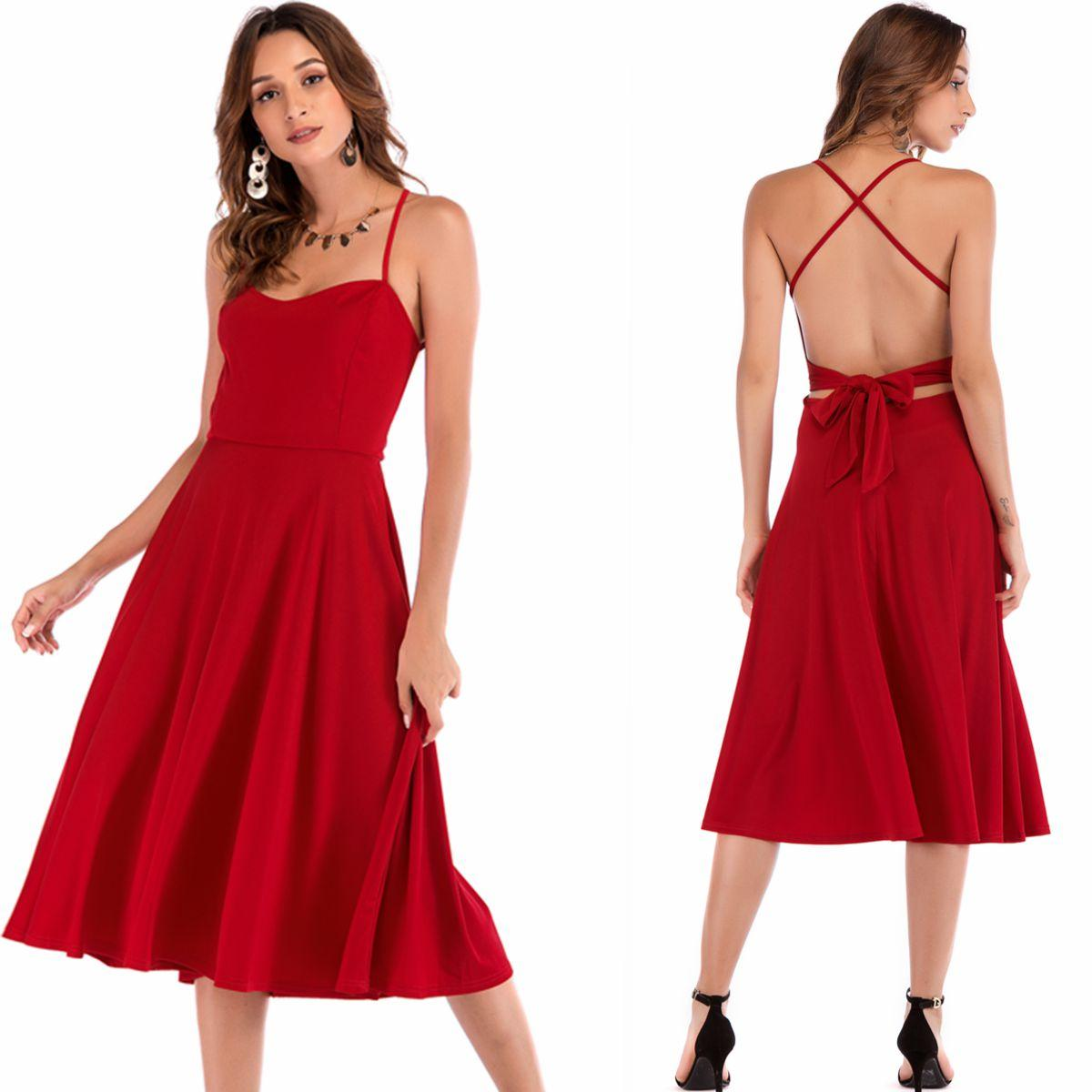 official photos 23c29 bc2ac Abendkleider für Frauen Spaghetti Strap Midi Solid Red Sexy Backless Sommer  Party Dinner Cocktail Prom Kleider 8965