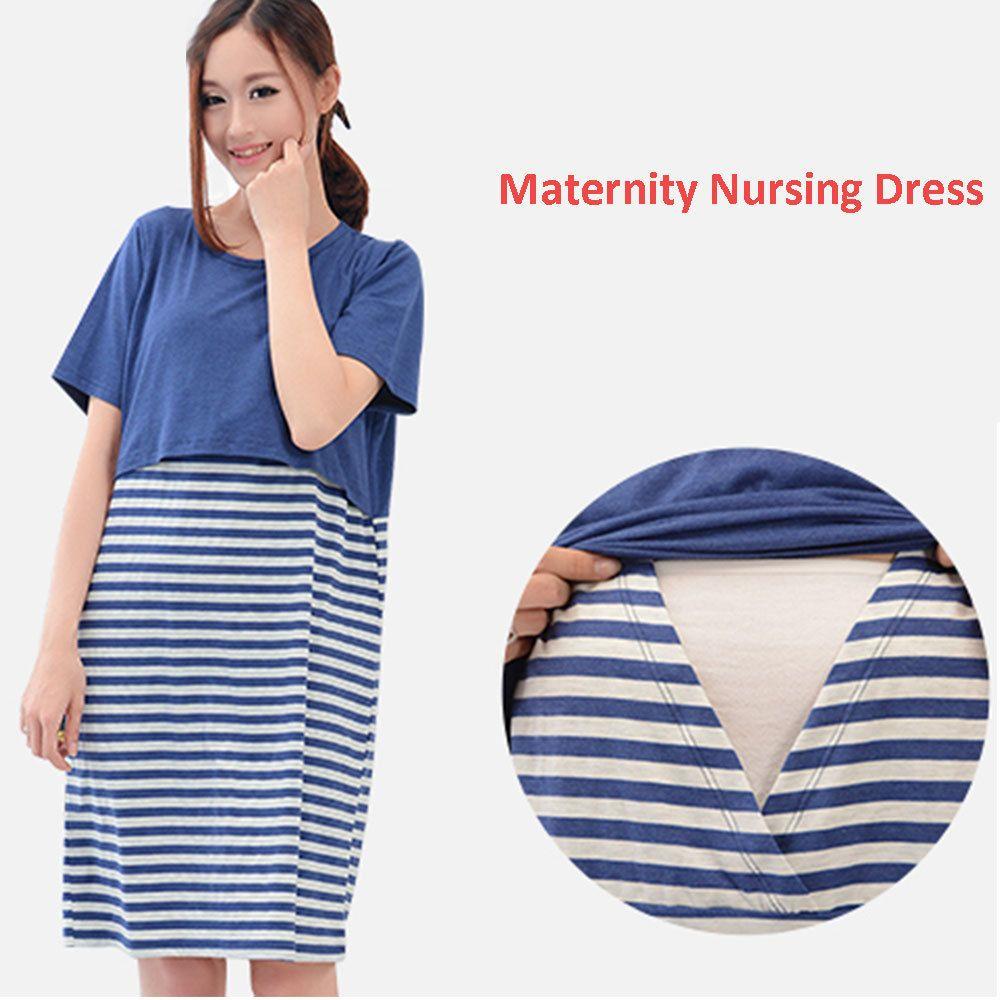 889f340c46d Compre Gravidez Vestido Mulheres Roupa De Enfermagem Listrado Vestidos  Casuais Amamentação Maternidade Vestidos Para Roupas Grávidas Mulheres De  Usefully16, ...